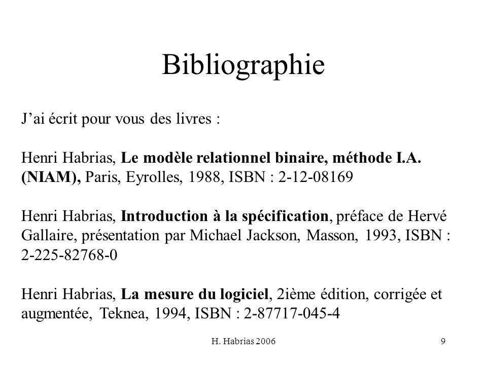 H. Habrias 20069 Bibliographie Jai écrit pour vous des livres : Henri Habrias, Le modèle relationnel binaire, méthode I.A. (NIAM), Paris, Eyrolles, 19