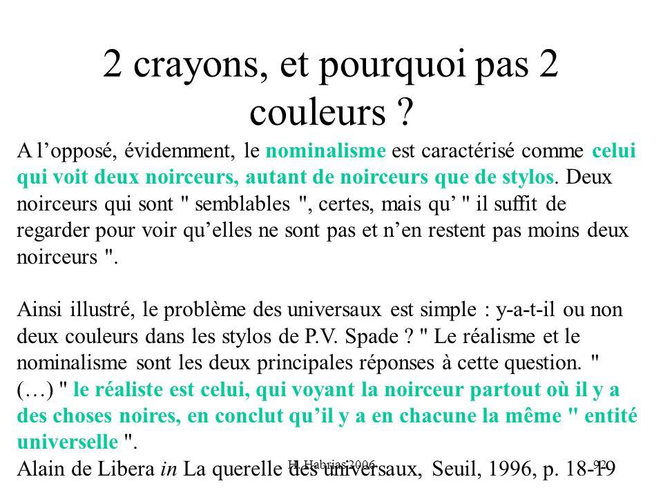 H. Habrias 200692 2 crayons, et pourquoi pas 2 couleurs ? A lopposé, évidemment, le nominalisme est caractérisé comme celui qui voit deux noirceurs, a