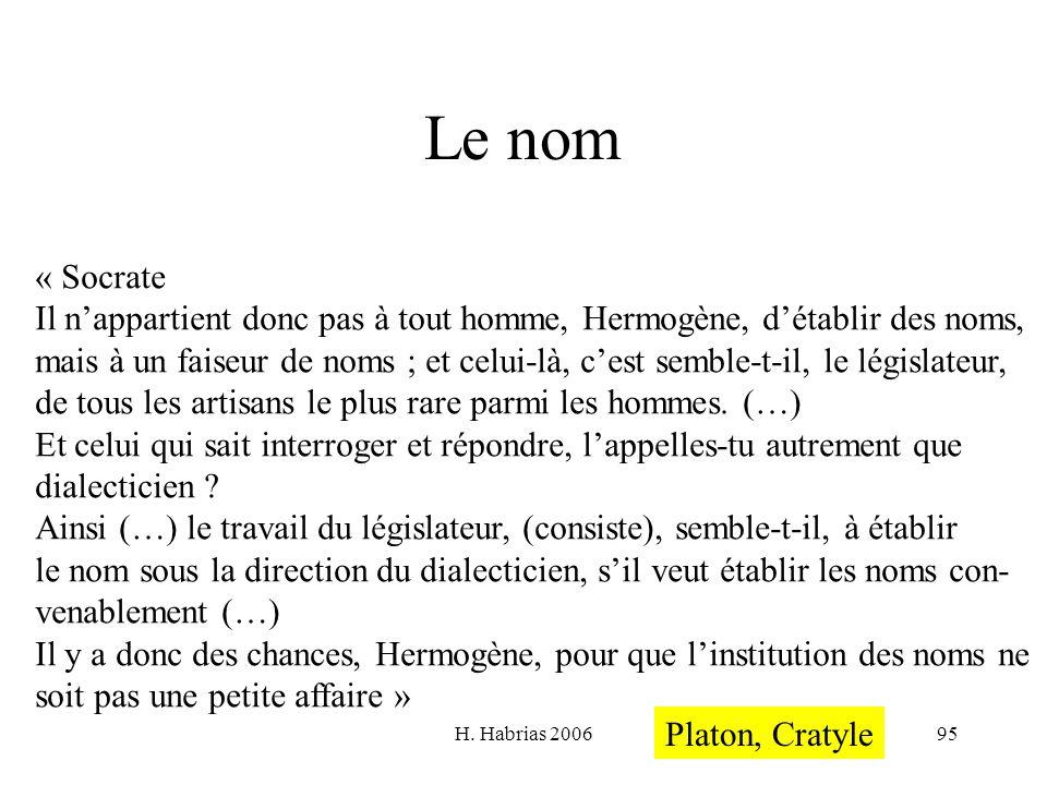 H. Habrias 200695 Le nom « Socrate Il nappartient donc pas à tout homme, Hermogène, détablir des noms, mais à un faiseur de noms ; et celui-là, cest s