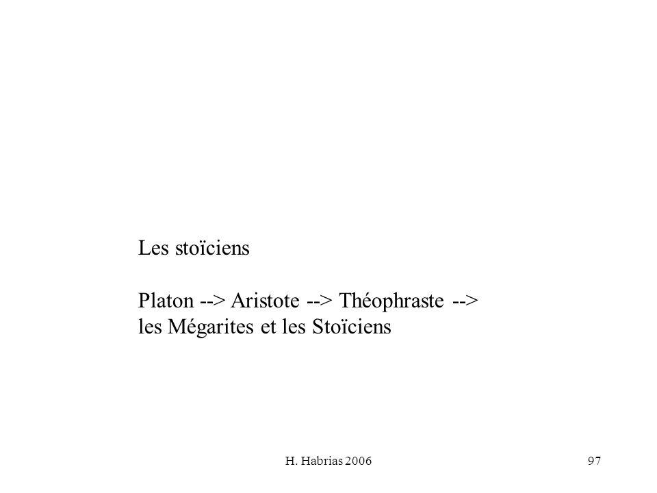 H. Habrias 200697 Les stoïciens Platon --> Aristote --> Théophraste --> les Mégarites et les Stoïciens