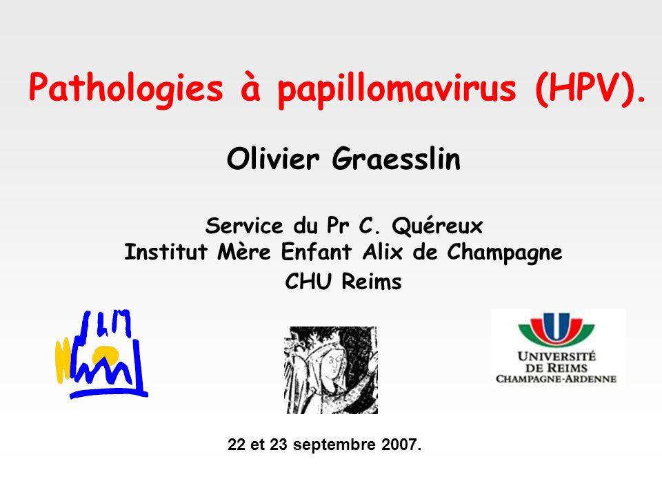 Olivier Graesslin Service du Pr C. Quéreux Institut Mère Enfant Alix de Champagne CHU Reims Pathologies à papillomavirus (HPV). 22 et 23 septembre 200