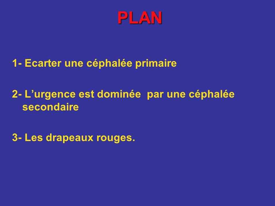 PLAN 1- Ecarter une céphalée primaire 2- Lurgence est dominée par une céphalée secondaire 3- Les drapeaux rouges.
