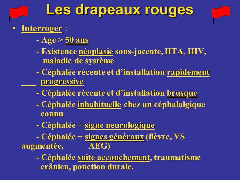 Interroger : 50 ans - Age > 50 ans néoplasie - Existence néoplasie sous-jacente, HTA, HIV, maladie de système rapidement progressive - Céphalée récent