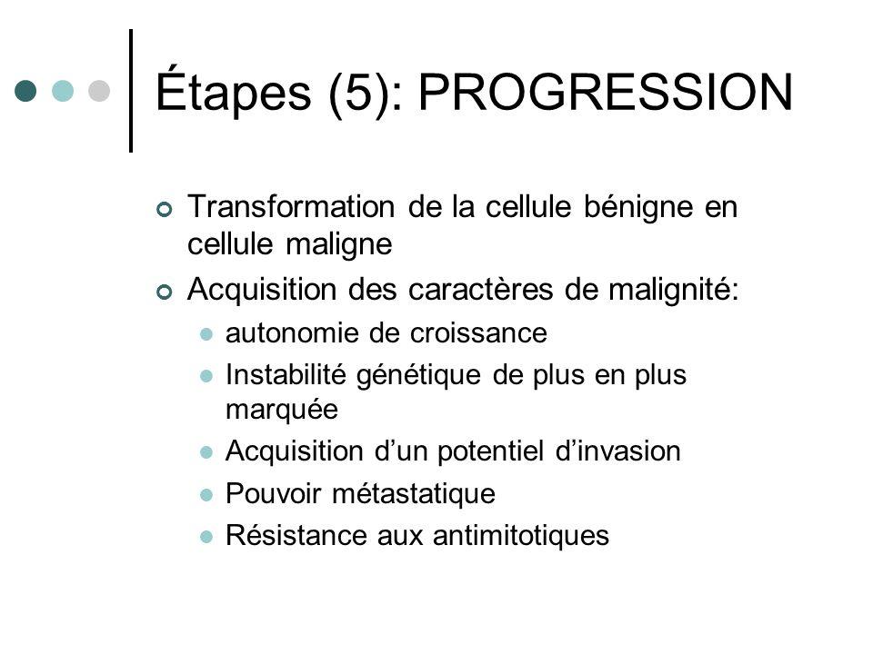 Étapes (5): PROGRESSION Transformation de la cellule bénigne en cellule maligne Acquisition des caractères de malignité: autonomie de croissance Insta