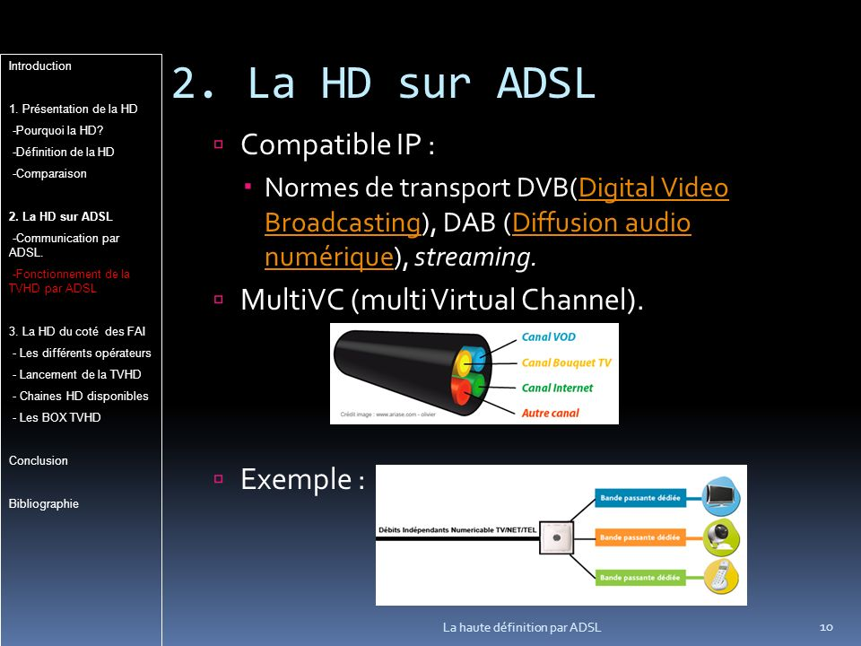 2. La HD sur ADSL 10 La haute définition par ADSL Compatible IP : Normes de transport DVB(Digital Video Broadcasting), DAB (Diffusion audio numérique)