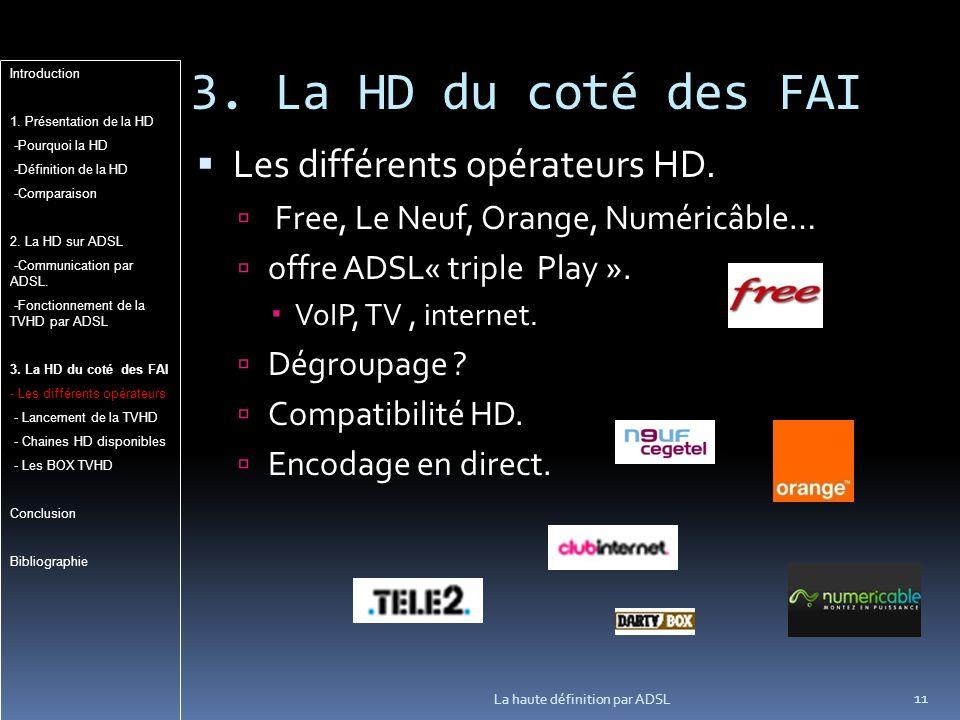 3.La HD du coté des FAI 11 La haute définition par ADSL Les différents opérateurs HD.