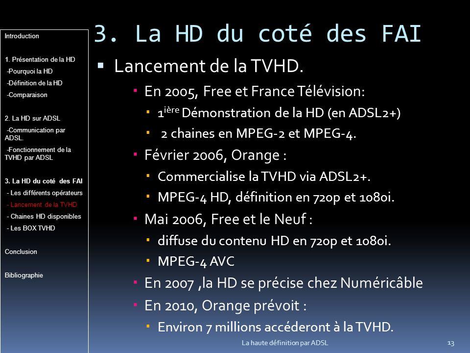 3.La HD du coté des FAI 13 La haute définition par ADSL Lancement de la TVHD.