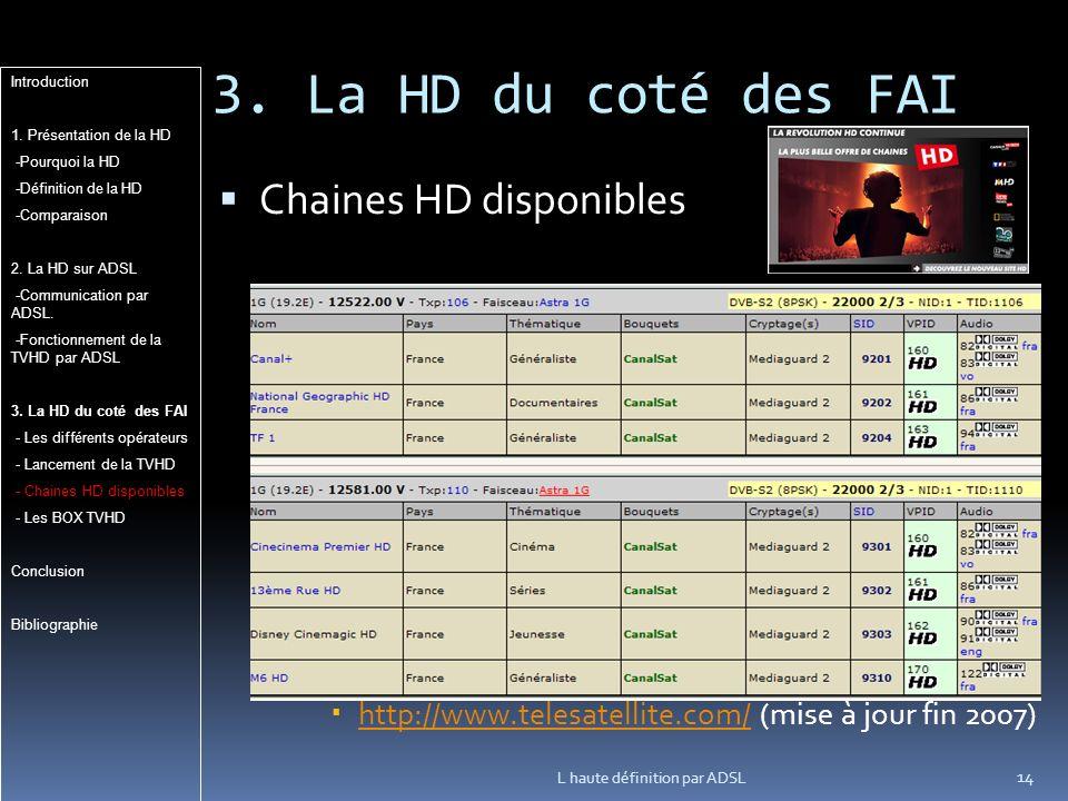 3. La HD du coté des FAI Chaines HD disponibles http://www.telesatellite.com/ (mise à jour fin 2007) http://www.telesatellite.com/ L haute définition
