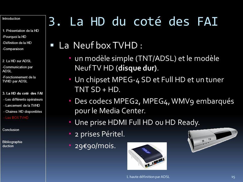 3. La HD du coté des FAI La Neuf box TVHD : un modèle simple (TNT/ADSL) et le modèle Neuf TV HD (disque dur). Un chipset MPEG-4 SD et Full HD et un tu
