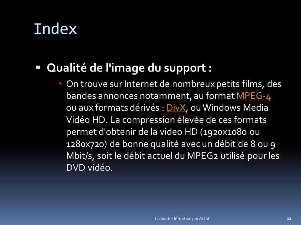 Index Qualité de l image du support : On trouve sur Internet de nombreux petits films, des bandes annonces notamment, au format MPEG-4 ou aux formats dérivés : DivX, ou Windows Media Vidéo HD.
