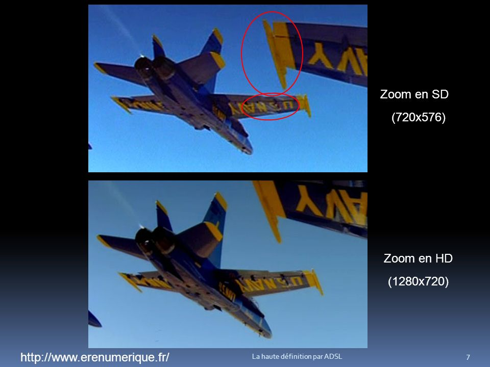 La haute définition par ADSL 7 Zoom en SD Zoom en HD (1280x720) (720x576) http://www.erenumerique.fr/