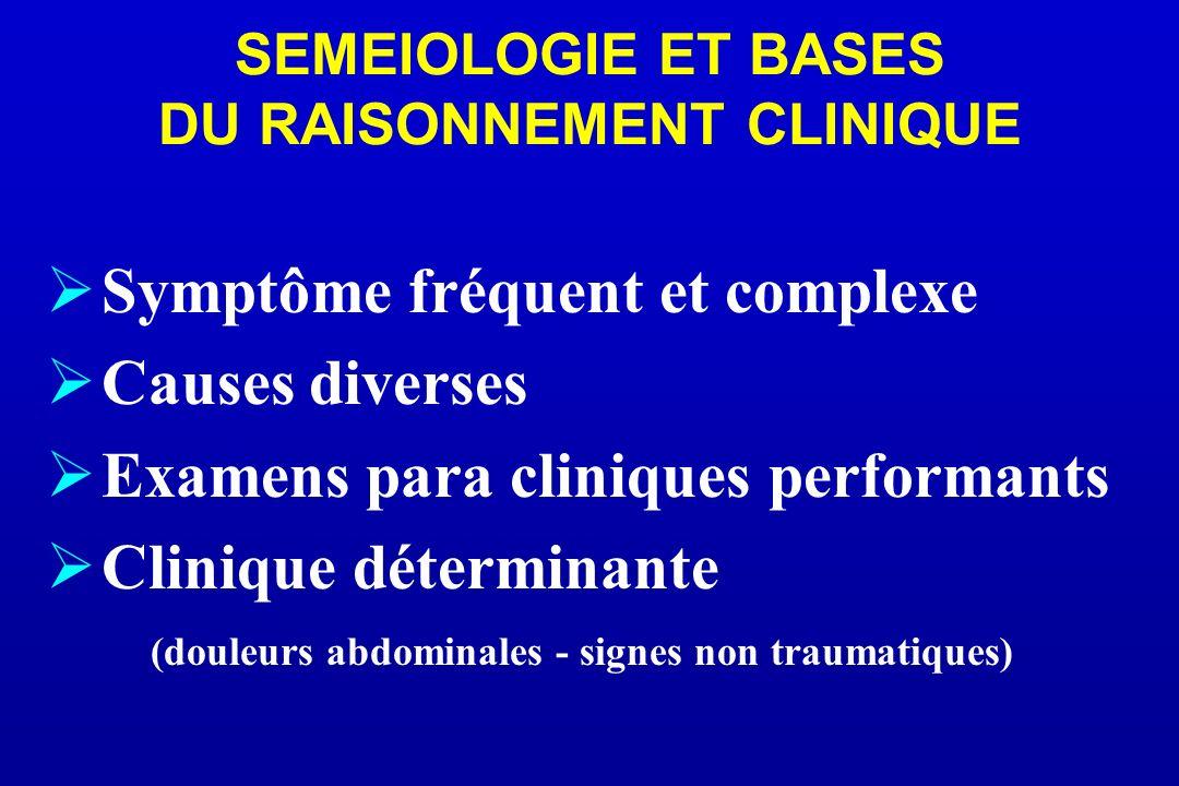 SEMEIOLOGIE ET BASES DU RAISONNEMENT CLINIQUE Symptôme fréquent et complexe Causes diverses Examens para cliniques performants Clinique déterminante (