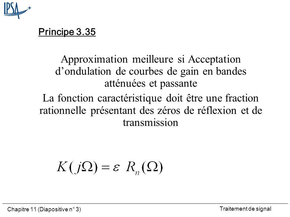 Traitement de signal Chapitre 11 (Diapositive n° 3) Principe 3.35 Approximation meilleure si Acceptation dondulation de courbes de gain en bandes atté