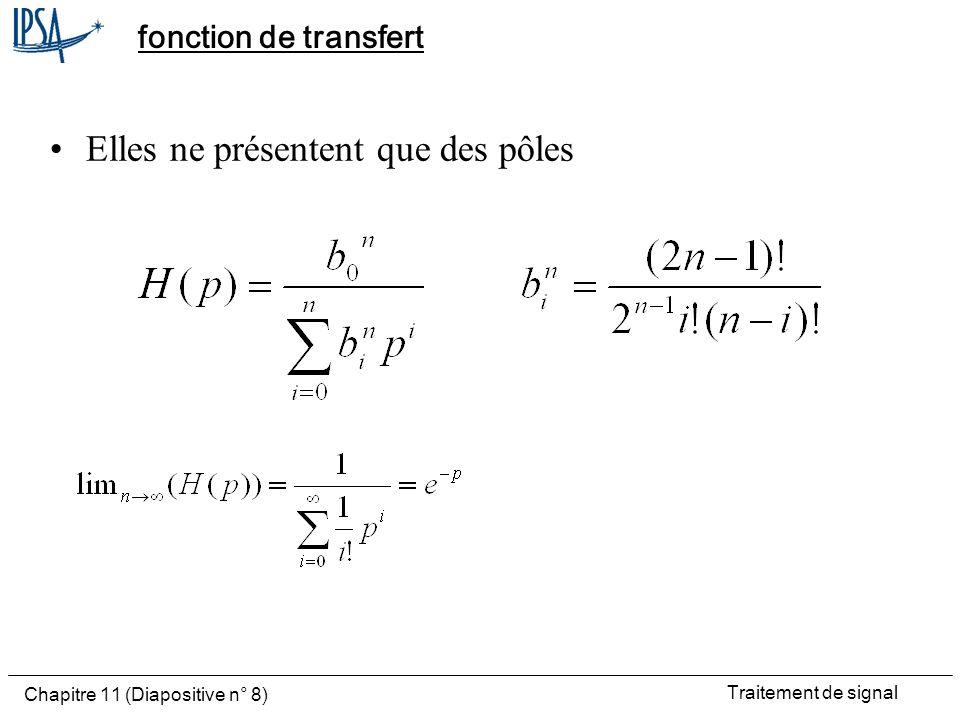 Traitement de signal Chapitre 11 (Diapositive n° 8) fonction de transfert Elles ne présentent que des pôles