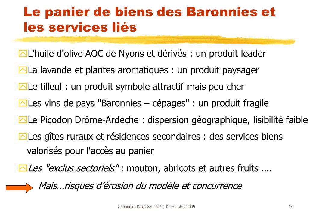 Séminaire INRA-SADAPT, 07 octobre 200913 Le panier de biens des Baronnies et les services liés yL'huile d'olive AOC de Nyons et dérivés : un produit l