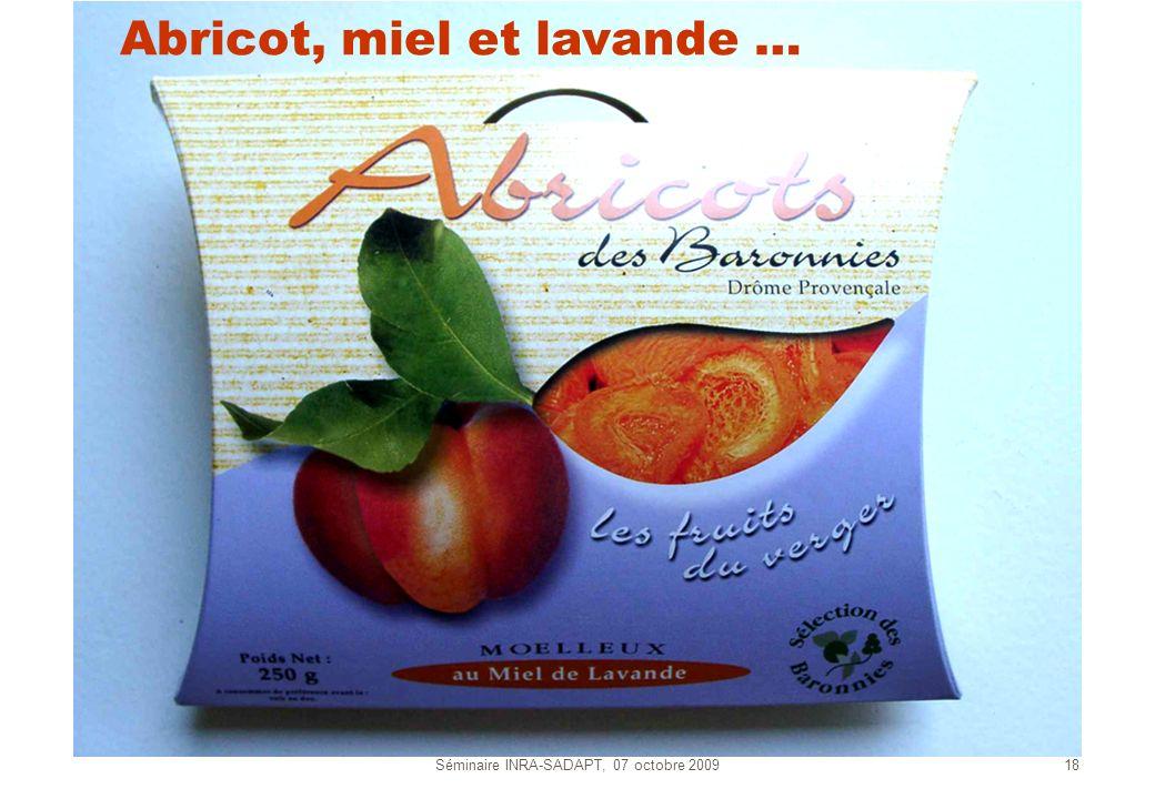 Séminaire INRA-SADAPT, 07 octobre 200918 Abricot, miel et lavande …