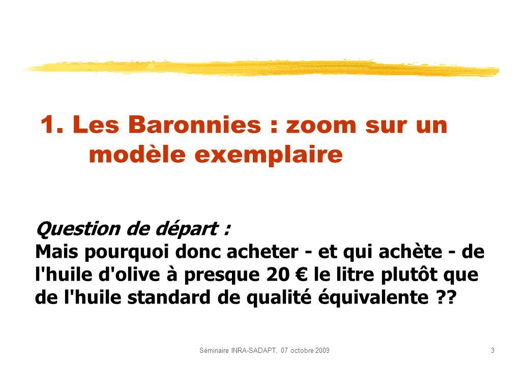Séminaire INRA-SADAPT, 07 octobre 20093 1. Les Baronnies : zoom sur un modèle exemplaire Question de départ : Mais pourquoi donc acheter - et qui achè