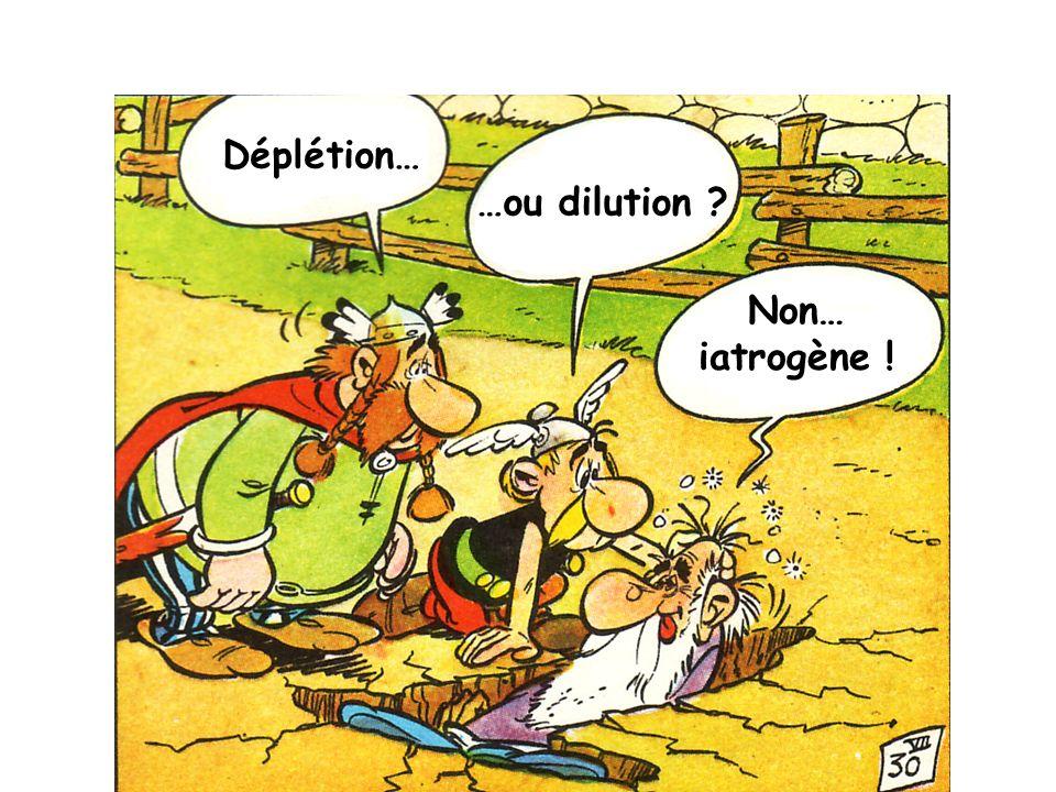 Déplétion… Non… iatrogène ! …ou dilution ?