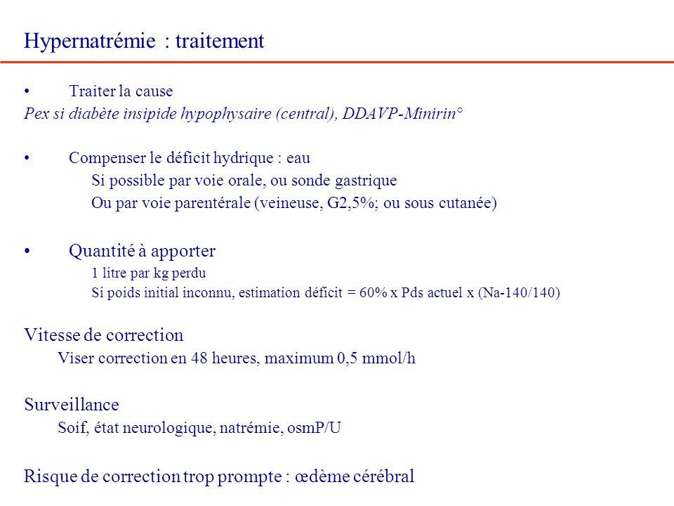 Hypernatrémie : traitement Traiter la cause Pex si diabète insipide hypophysaire (central), DDAVP-Minirin° Compenser le déficit hydrique : eau Si poss