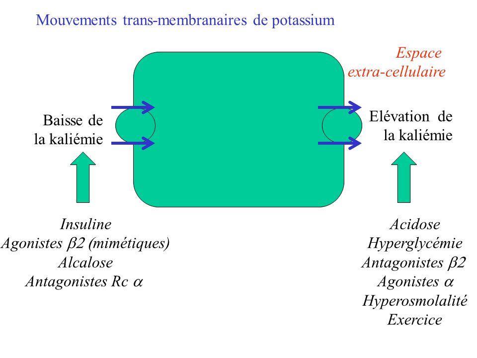 Espace extra-cellulaire Baisse de la kaliémie Insuline Agonistes mimétiques) Alcalose Antagonistes Rc Elévation de la kaliémie Acidose Hyperglycémie A
