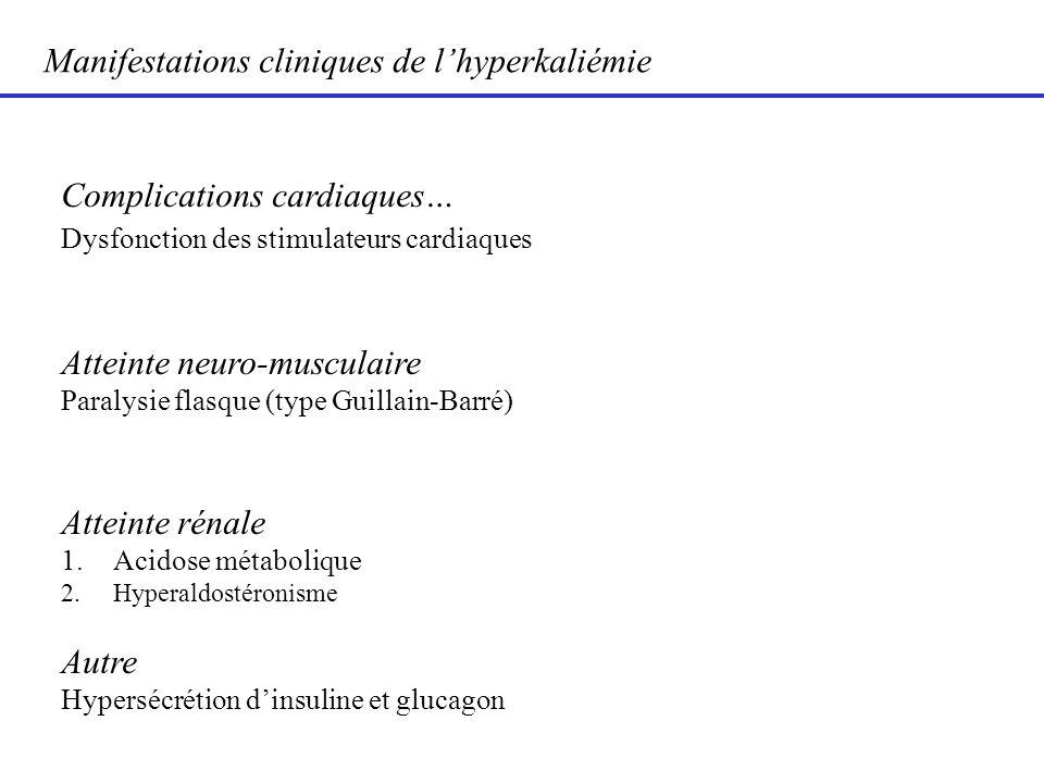 Manifestations cliniques de lhyperkaliémie Complications cardiaques… Dysfonction des stimulateurs cardiaques Atteinte neuro-musculaire Paralysie flasq