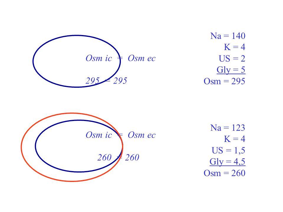Osm ic = Osm ec = (122 + 5)x2 + 2 +5 Osm ic = 261 La natrémie reflète lhydratation intracellulaire