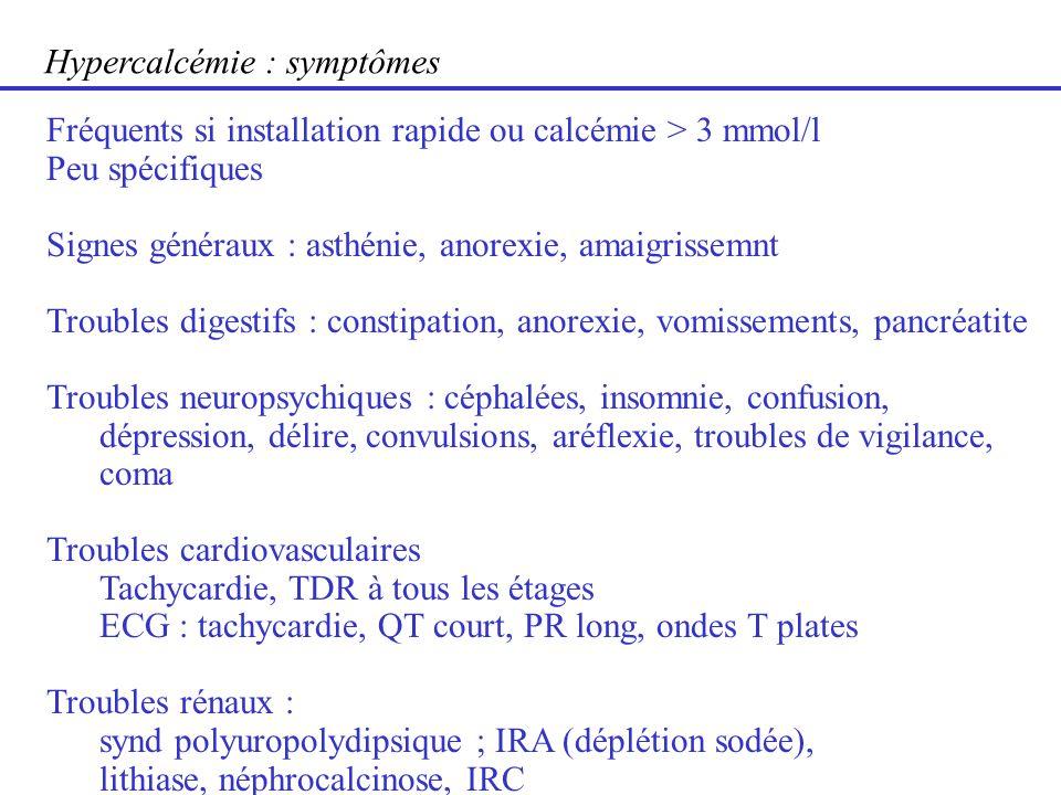 Hypercalcémie : symptômes Fréquents si installation rapide ou calcémie > 3 mmol/l Peu spécifiques Signes généraux : asthénie, anorexie, amaigrissemnt