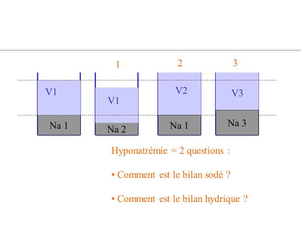 Na 1 Na 2 Na 1 V1 V2 V1 Na 3 V3 Hyponatrémie = 2 questions : Comment est le bilan sodé ? Comment est le bilan hydrique ? 1 23