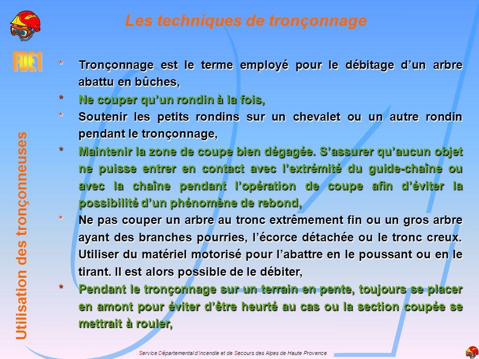 Service Départemental dIncendie et de Secours des Alpes de Haute Provence Les techniques dabattage Le trait dabattage est toujours fait plat et horizo