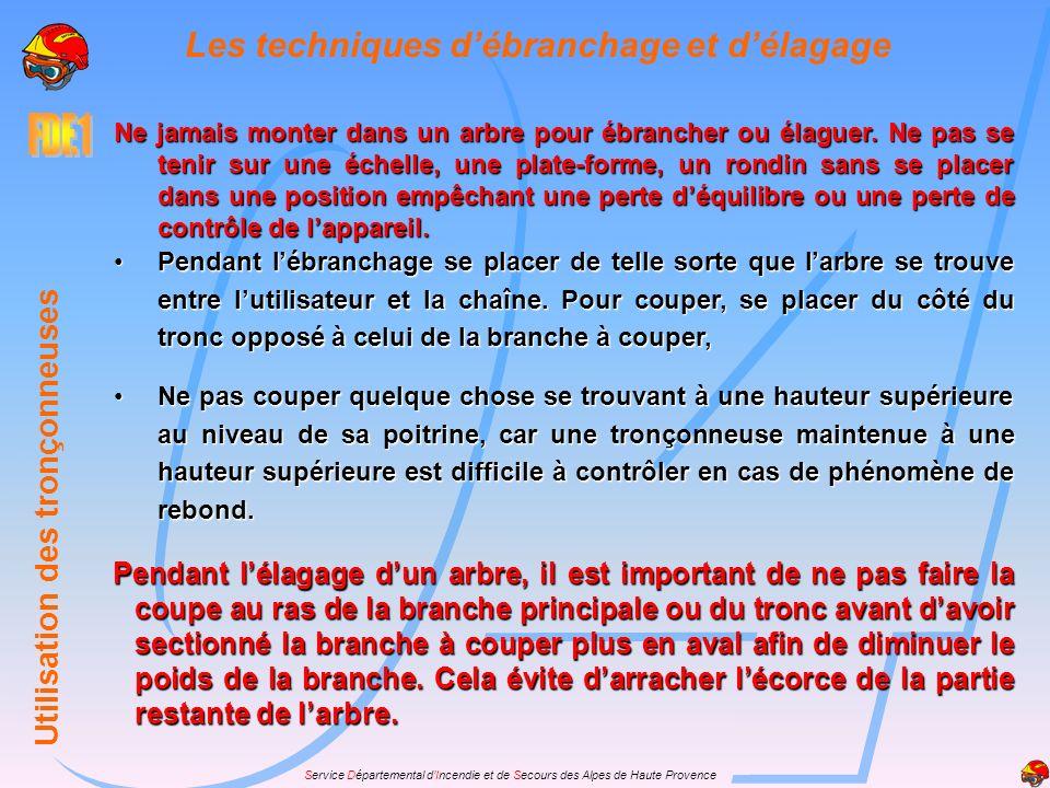 Service Départemental dIncendie et de Secours des Alpes de Haute Provence Les techniques de tronçonnage *Tronçonnage est le terme employé pour le débi