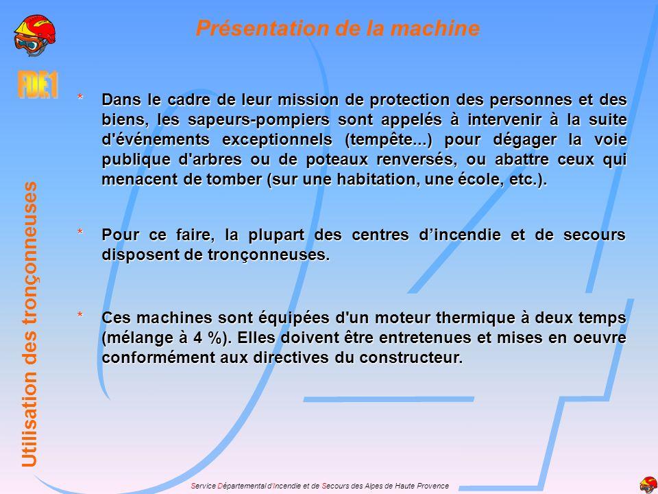 Service Départemental dIncendie et de Secours des Alpes de Haute Provence Rôle de léquipier feux de forêts UTILISATION DES TRONÇONNEUSES