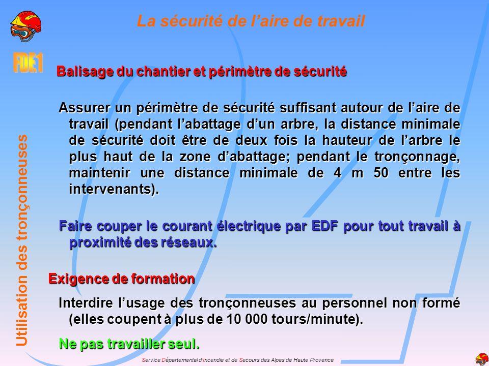 Service Départemental dIncendie et de Secours des Alpes de Haute Provence La procédure dutilisation Lors de la mise en œuvre des tronçonneuses il faut