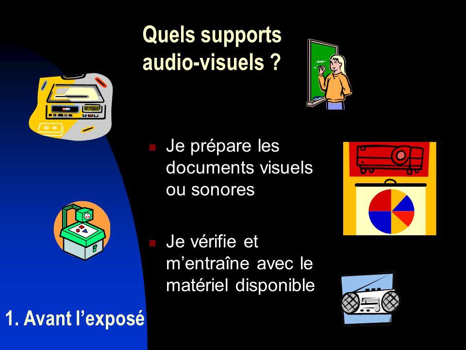 1. Avant lexposé Je prépare les documents visuels ou sonores Je vérifie et mentraîne avec le matériel disponible Quels supports audio-visuels ?