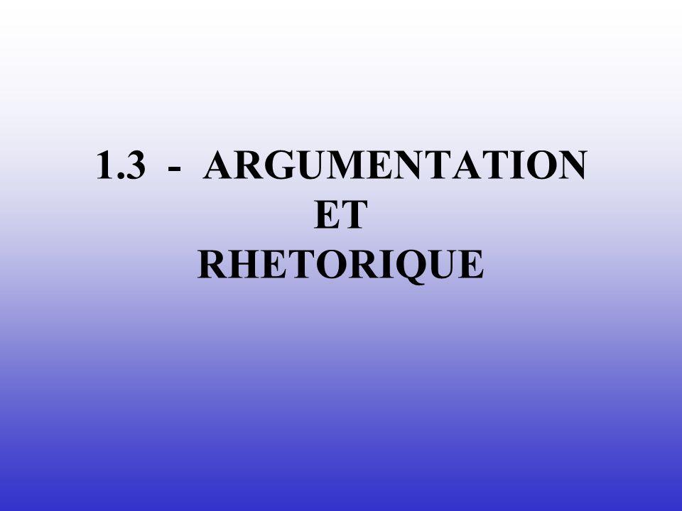 1.3 - ARGUMENTATION ET RHETORIQUE
