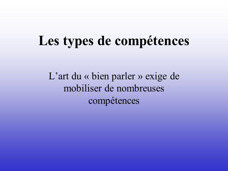 Les types de compétences Lart du « bien parler » exige de mobiliser de nombreuses compétences