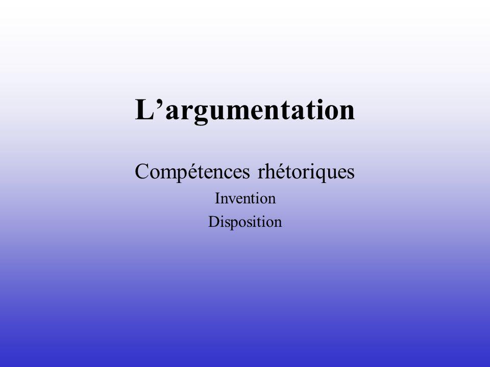 Largumentation Compétences rhétoriques Invention Disposition