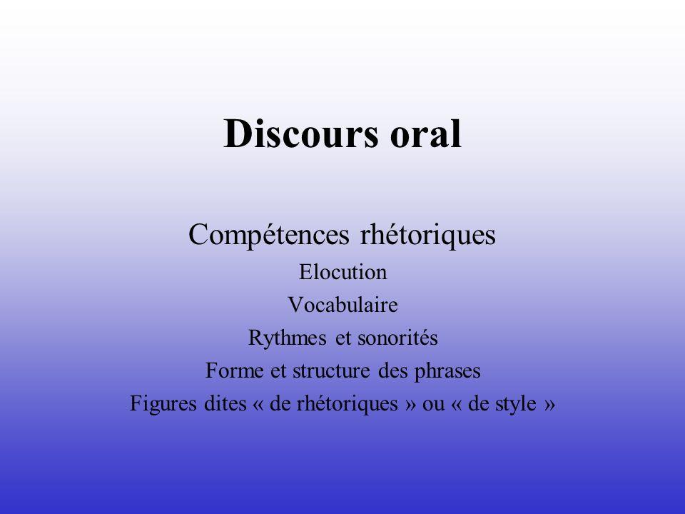 Discours oral Compétences rhétoriques Elocution Vocabulaire Rythmes et sonorités Forme et structure des phrases Figures dites « de rhétoriques » ou «