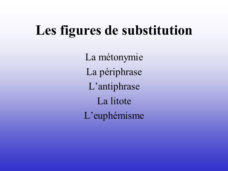 Les figures de substitution La métonymie La périphrase Lantiphrase La litote Leuphémisme