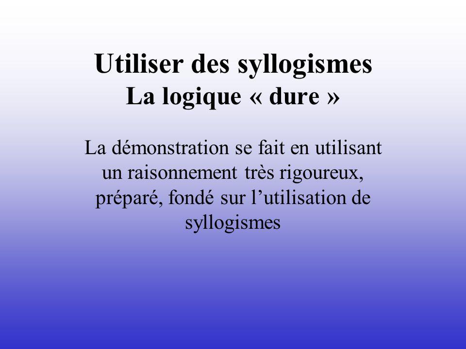 Utiliser des syllogismes La logique « dure » La démonstration se fait en utilisant un raisonnement très rigoureux, préparé, fondé sur lutilisation de