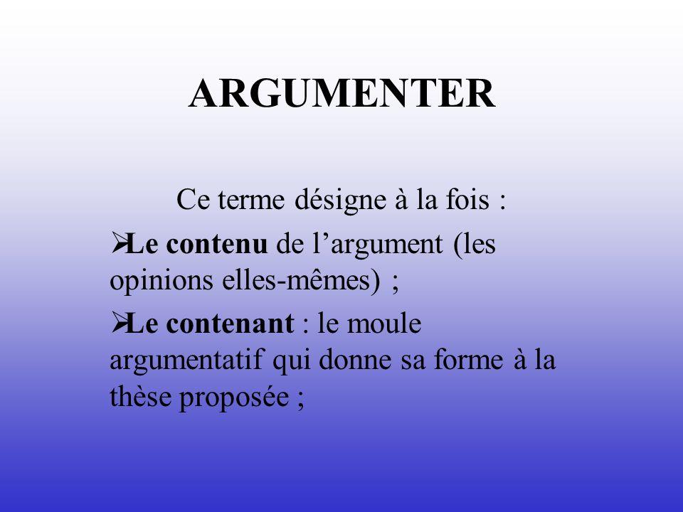 ARGUMENTER Ce terme désigne à la fois : Le contenu de largument (les opinions elles-mêmes) ; Le contenant : le moule argumentatif qui donne sa forme à