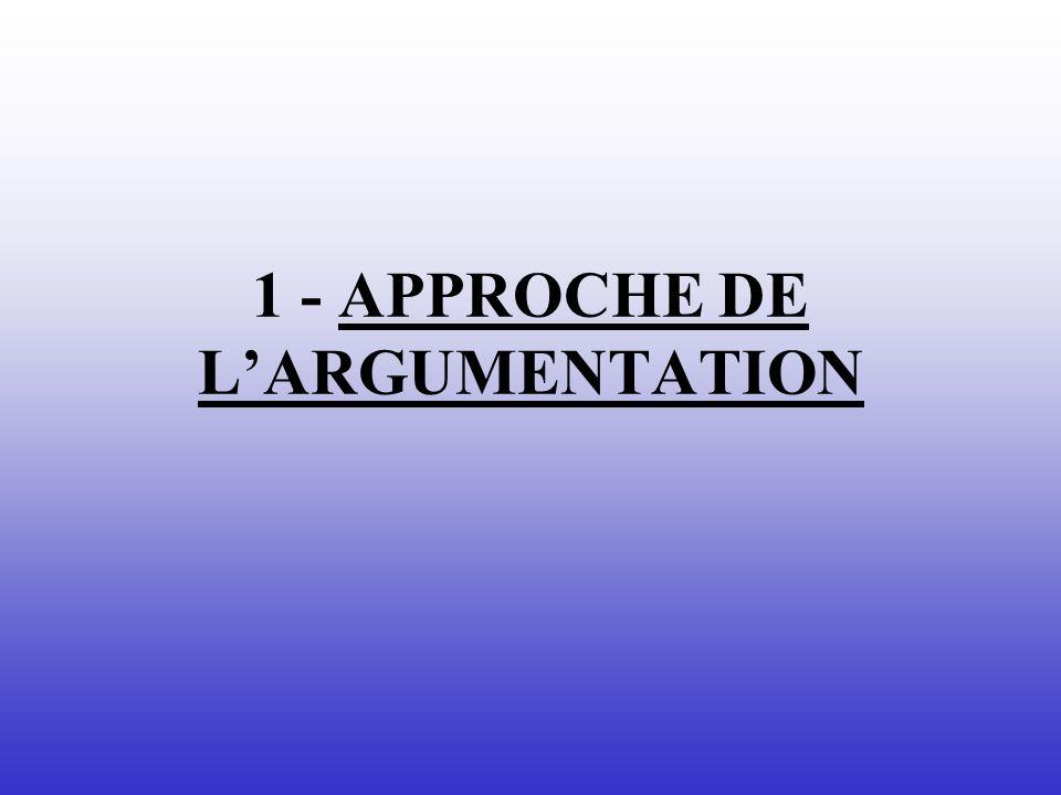 1 - APPROCHE DE LARGUMENTATION