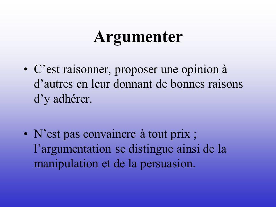 Argumenter Cest raisonner, proposer une opinion à dautres en leur donnant de bonnes raisons dy adhérer. Nest pas convaincre à tout prix ; largumentati
