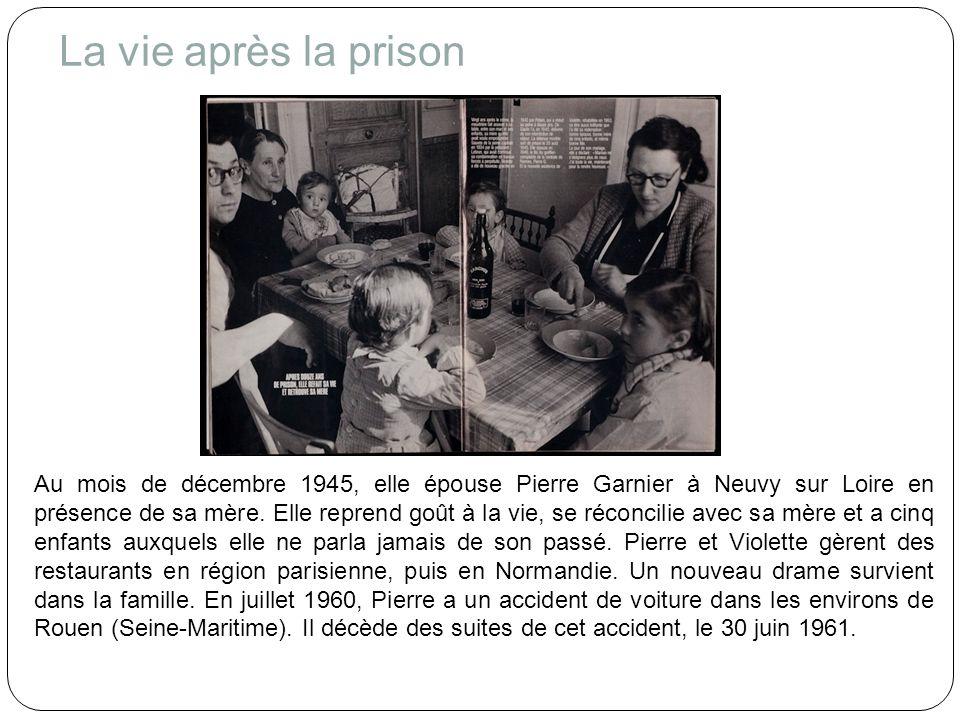 Violette élève donc seule ses enfants et continue de veiller sur sa mère, Germaine Nozière, qui demeurait avec eux.