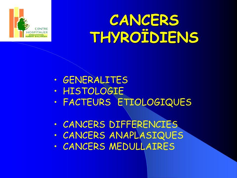 CANCERS THYROÏDIENS GENERALITES HISTOLOGIE FACTEURS ETIOLOGIQUES CANCERS DIFFERENCIES CANCERS ANAPLASIQUES CANCERS MEDULLAIRES