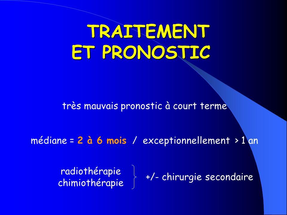 TRAITEMENT ET PRONOSTIC TRAITEMENT ET PRONOSTIC très mauvais pronostic à court terme médiane = 2 à 6 mois / exceptionnellement > 1 an radiothérapie ch