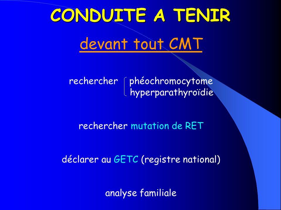 CONDUITE A TENIR devant tout CMT rechercher phéochromocytome hyperparathyroïdie rechercher mutation de RET déclarer au GETC (registre national) analys