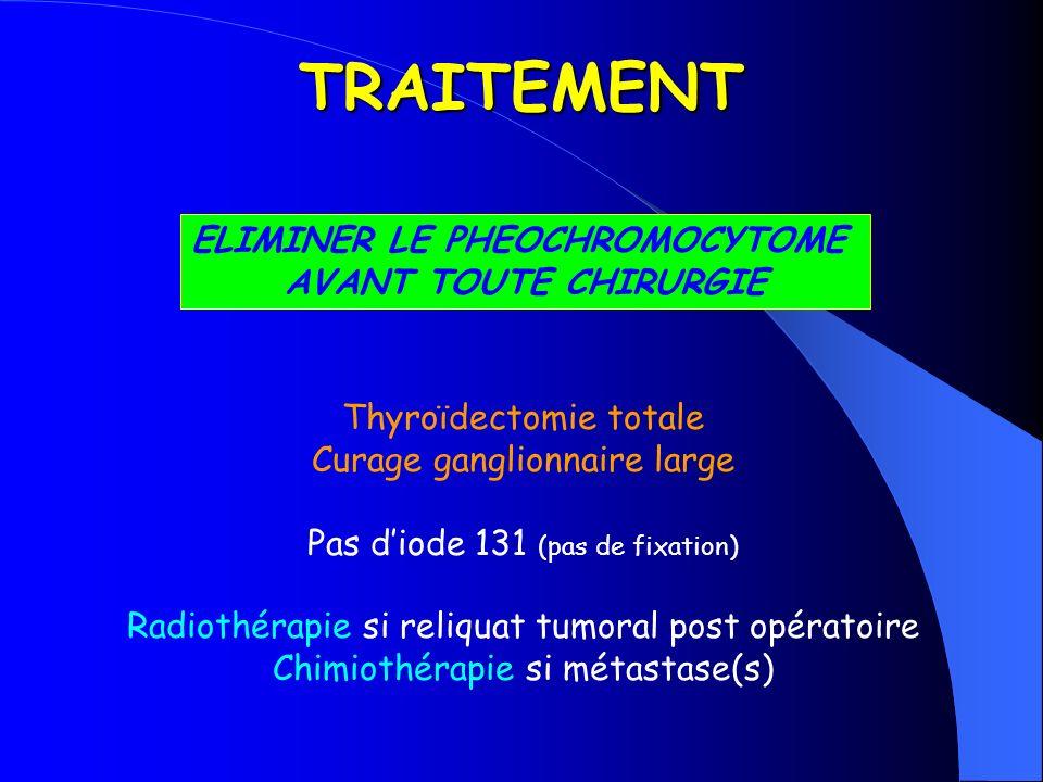 TRAITEMENT ELIMINER LE PHEOCHROMOCYTOME AVANT TOUTE CHIRURGIE Thyroïdectomie totale Curage ganglionnaire large Pas diode 131 (pas de fixation) Radioth