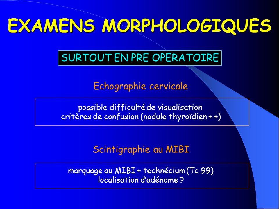 EXAMENS MORPHOLOGIQUES Echographie cervicale possible difficulté de visualisation critères de confusion (nodule thyroïdien + +) Scintigraphie au MIBI