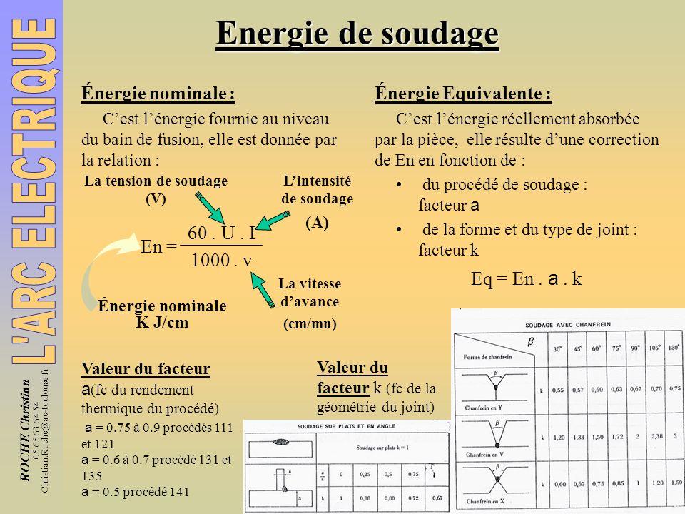 ROCHE Christian 05 65 63 64 54 Christian.Roche@ac-toulouse.fr Energie de soudage Énergie nominale : Cest lénergie fournie au niveau du bain de fusion,