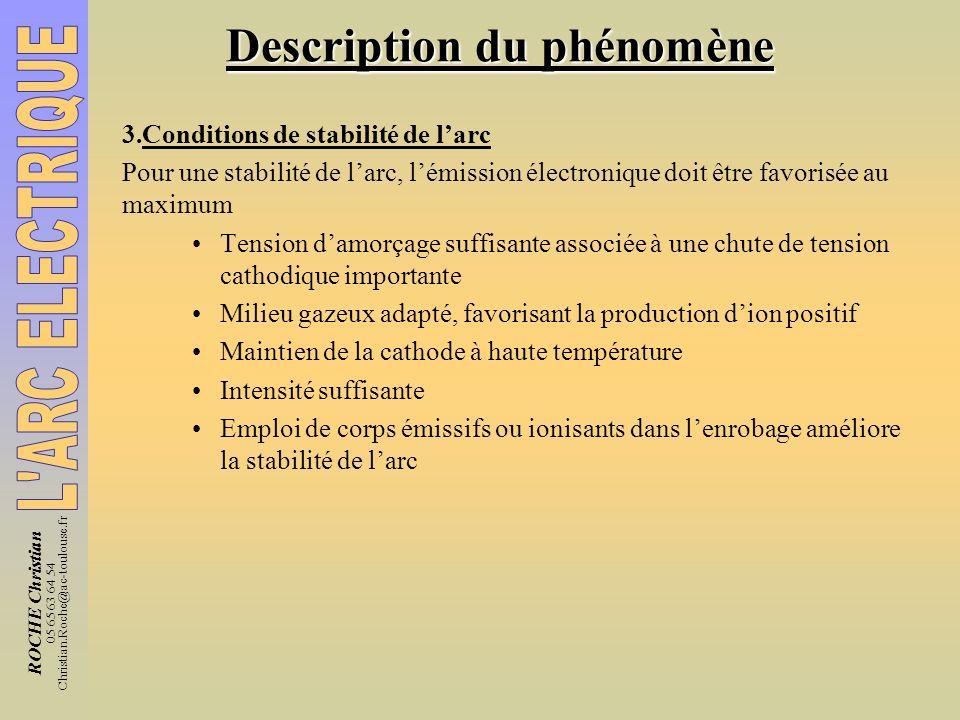 ROCHE Christian 05 65 63 64 54 Christian.Roche@ac-toulouse.fr Description du phénomène 3.Conditions de stabilité de larc Pour une stabilité de larc, l
